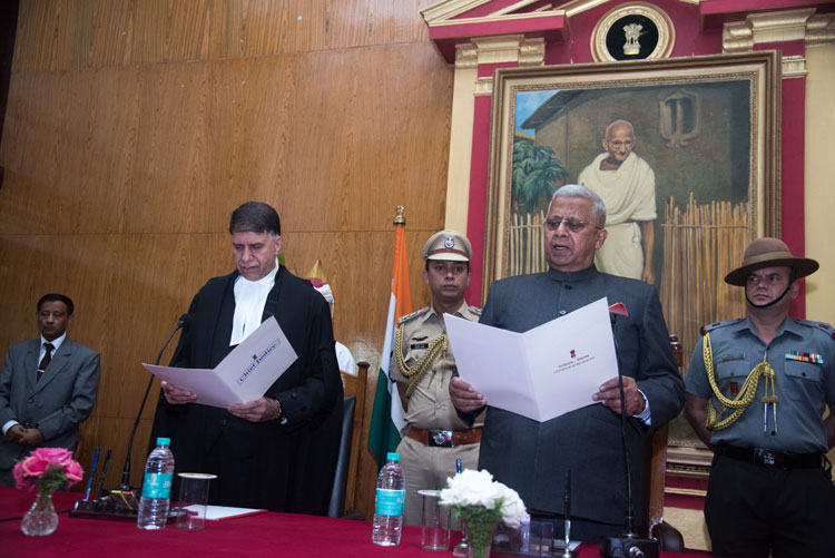 Swearing in Ceremony of Shri Tathagata Roy, Hon'ble Governor of Meghalaya at Raj Bhavan, Shillong  on the 25th  August, 2018.