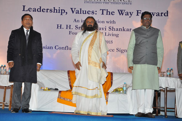Hon'ble Governor and Chief Minister Shri Mukul Sangma with Sri Sri Ravi Shankar